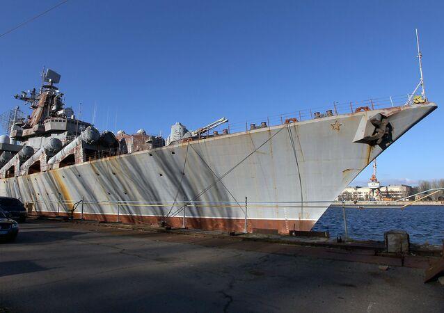 Missile cruiser Ukrayina at the Nikolayev Shipbuilding Yard in Ukraine