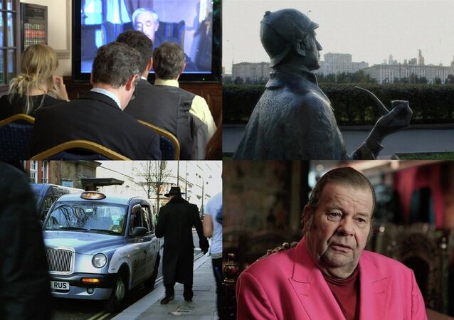 A collage of stills from the 'Through Sherlock's Eyes' film and its presentation at the Russian Embassy in London