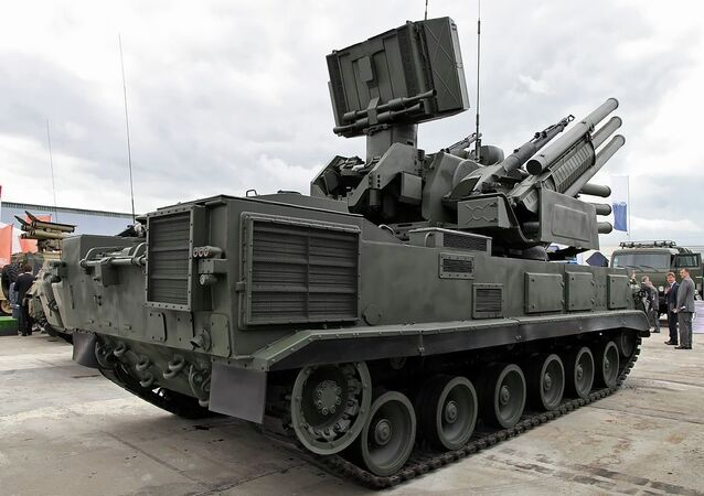 Pantsir-S1 air defence system, full-track chasis