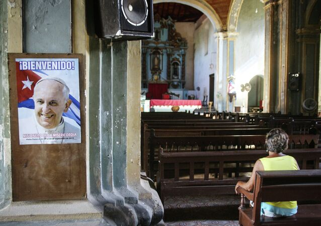 View of a poster of Pope Francis at a church in Santiago de Cuba province, Cuba on September 7, 2015