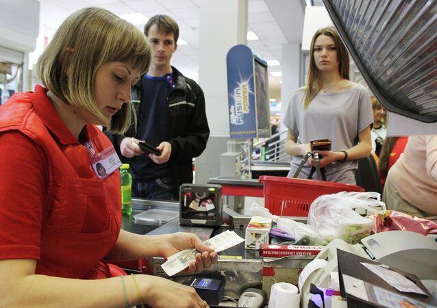 A checker in a store in Simferopol