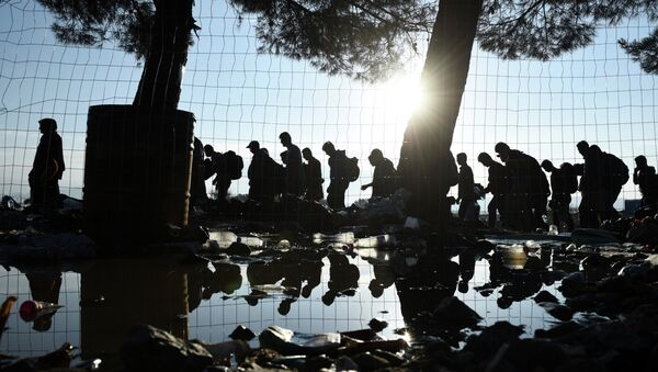The sun rises as refugees and migrants walk to pass from the northern Greek village of Idomeni to southern Macedonia, Friday, Sept. 11, 2015. The sudden onset of autumn has taken tens of thousands by surprise all along the Balkans route from Greece to Hungary - Sputnik International