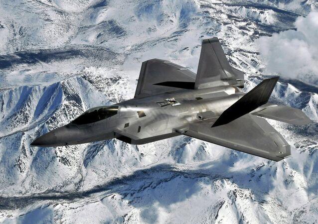F-22 Raptor flies over Elmendorf Air Force Base, Alaska