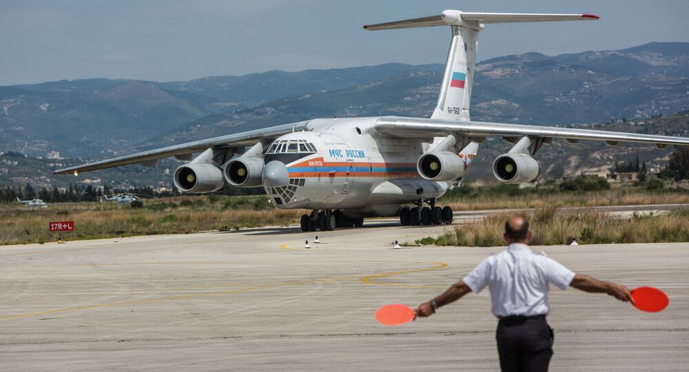 Russian EMERCOM plane with humanitarian aid for the people of Syria arrives to Latakia Airport in Syria