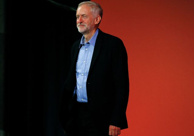 Jeremy Corbyn arrives at the Labour Party Leadership Conference in London, Saturday, Sept. 12, 2015