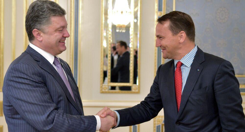 Ukrainian President Petro Poroshenko, left, shakes hands with Poland's Foreign Minister Radoslaw Sikorski, during a meeting in Kiev, Ukraine, Tuesday, July 15, 2014