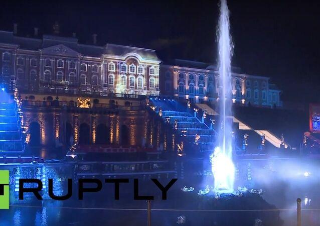 Firework & Dance Display During Peterhof's Fountain Closing Ceremony