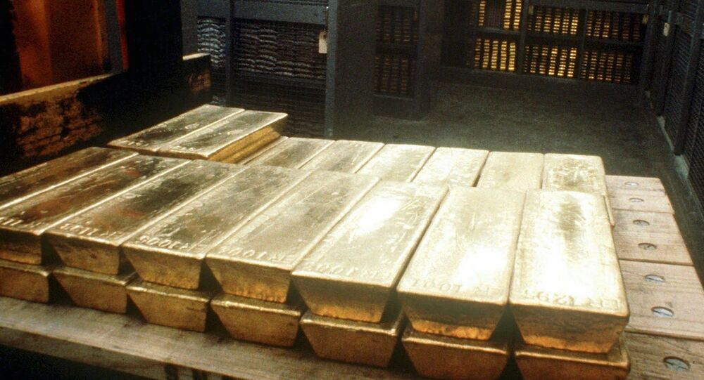 Undated photo of gold ingots in the strongroom of the Swiss national bank in Bern.