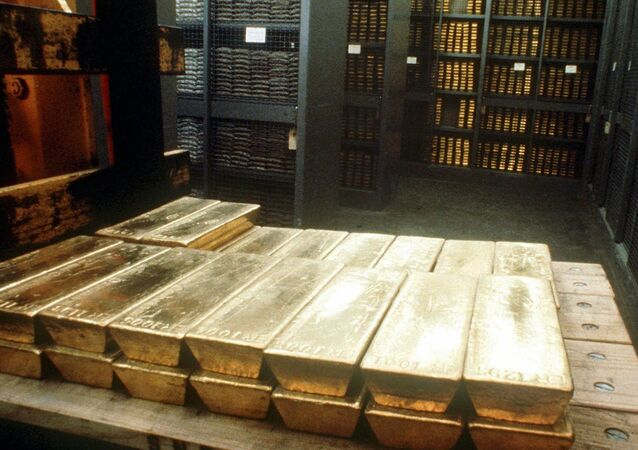 Undated photo of gold ingots in the strongroom of the Swiss national bank in Bern. The Swiss government on Wednesday, April 12, 2000