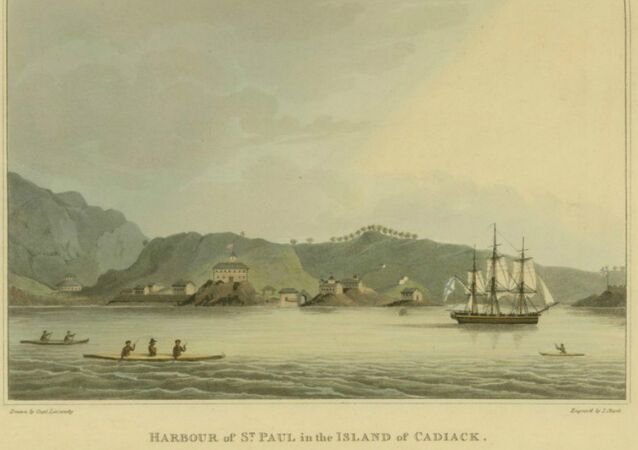 This 1814 print includes an image of the Neva, a Russian ship that was wrecked off Cape Edgecumbe in 1813. Archaeologists recently found artifacts that may have come from survivors of that shipwreck