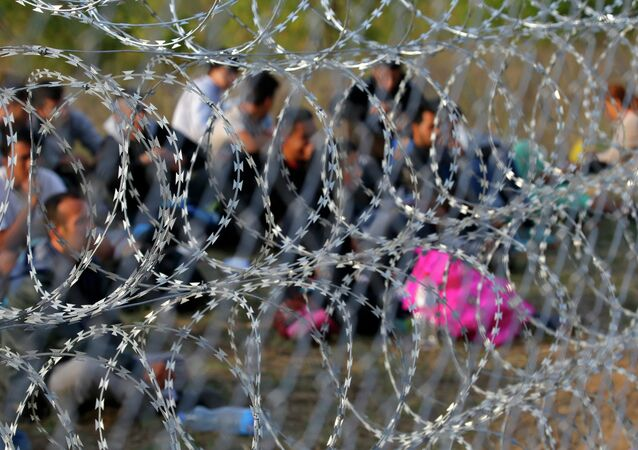 Migrants sit behind the barbed wire fence on the Serbian side of the border with Hungary in Asotthalom, September 15, 2015.