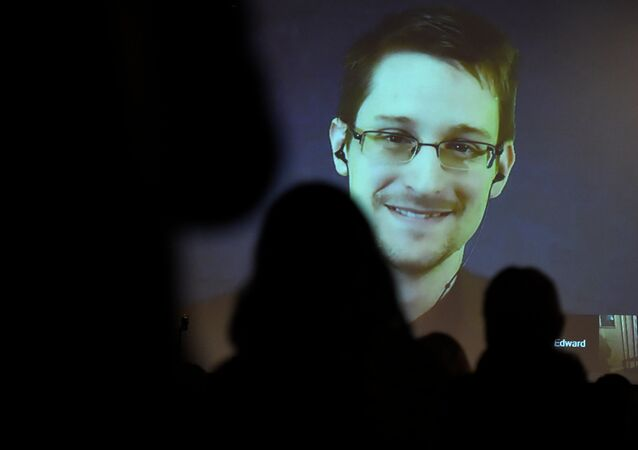 Edward Snowden greets the audience before he is honored with the Carl von Ossietzky medal by International League for Human Rights to during a video conference call after he received the award in Berlin December 14, 2014.