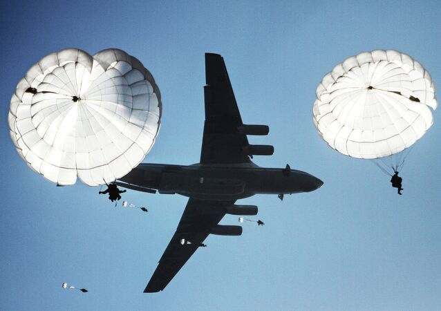Airborne drop during the joint battalion tactical exercise of airborne troops from Russia