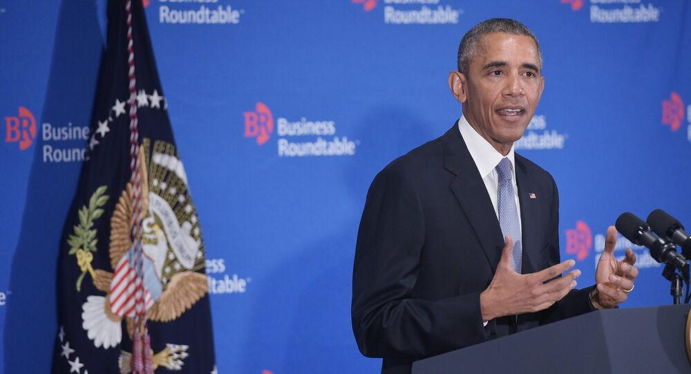 US President Barack Obama speaks to members of the Business Roundtable at their headquarters in Washington, DC on September 16, 2015.