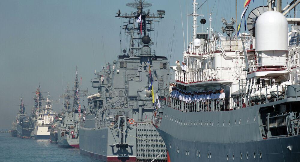 Rehearsal for naval review in Sevastopol