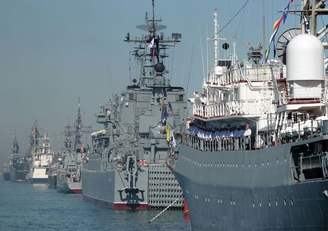 Black Sea Fleet ships line up