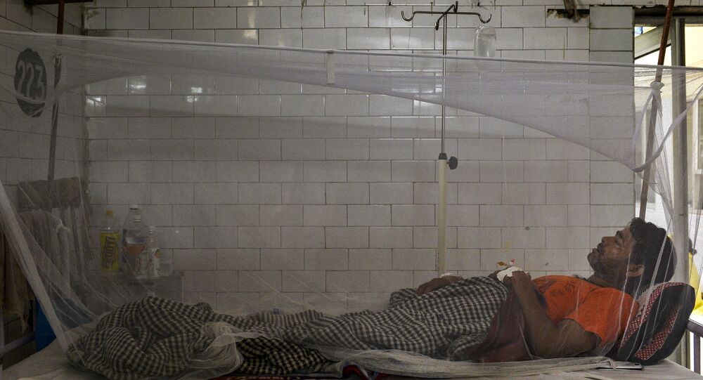 Indian patient lies in a bed covered with a mosquito net in a dengue ward of a government hospital in New Delhi