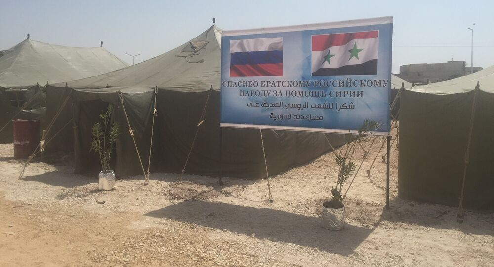 Russia has established the first refugee camp for 500 people in the central Syrian city of Hama