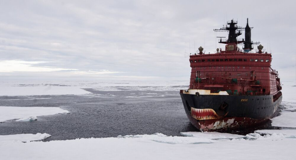 The nuclear icebreaker Yamal during Arctic exploration in the Kara Sea