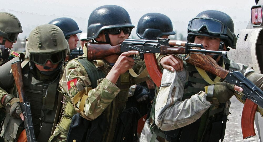 Servicemen during military exercises held by the Shanghai Cooperation Organization member states' special forces