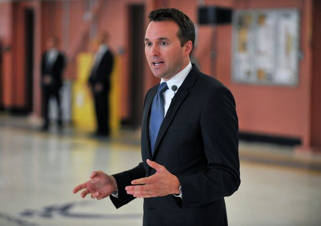 Acting Secretary of the Air Force Eric Fanning speaks to 300 members of the 106th Rescue Wing, New York Air National Guard during a visit to Francis S. Gabreski Air National Guard Base in Westhampton Beach, New York on July 25, 2013