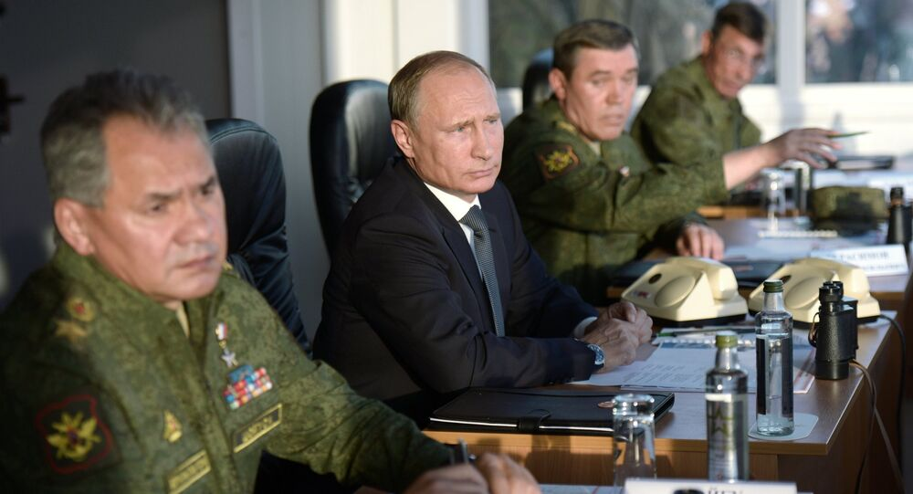 Russian President Vladimir Putinduring a meeting of the Military-Industrial Commission.