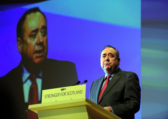 Scotland's First Minister Alex Salmond delivers his final speech as the leader of the Scottish National Party at the SNP Annual National Party Conference in Perth, Scotland on November 14, 2014
