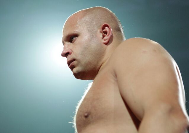 Fedor Emelianenko before fighting Fabricio Werdum in a Strikeforce/M-1 Global mixed martial arts match in San Jose, Calif., Saturday, June 26, 2010