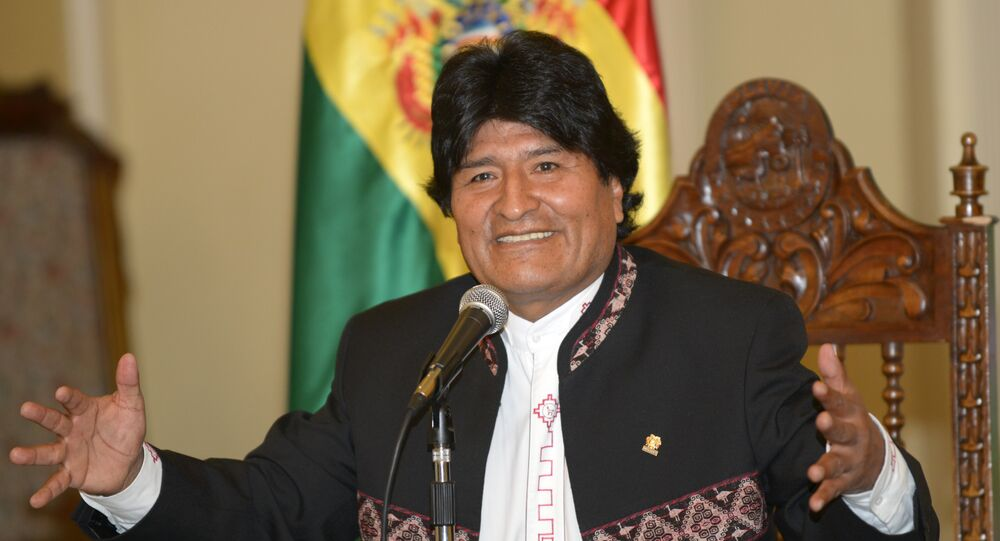 Bolivian President Evo Morales offers a press conference at the Quemado presidential palace in La Paz on May 5, 2015