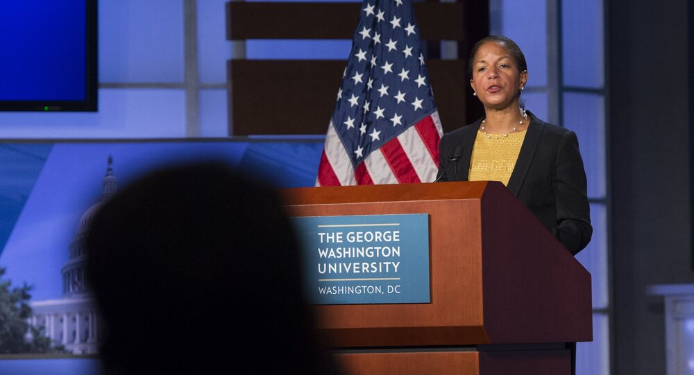US National Security Adviser Susan Rice speaks about the US - China relationship and upcoming Chinese State Visit to Washington at George Washington University in Washington, DC, September 21, 2015