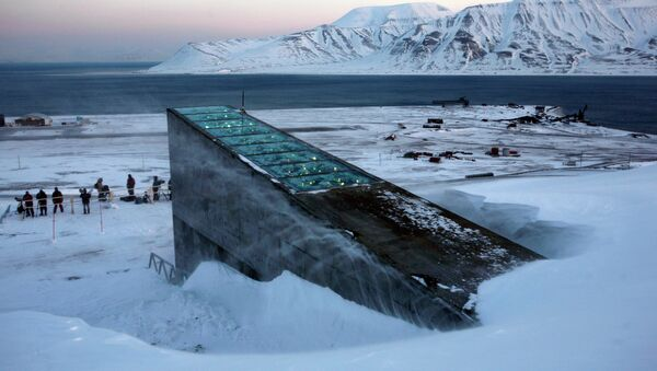 Snow blows off the Svalbard Global Seed Vault before being inaugurated at sunrise - Sputnik International