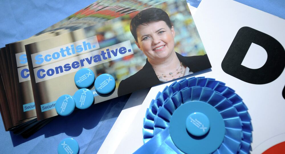 Canvassing materials showing the face of Ruth Davidson, leader of the Scottish Conservatives, are pictured as she campaigns for the UK general election in the centre of Edinburgh on April 23, 2015