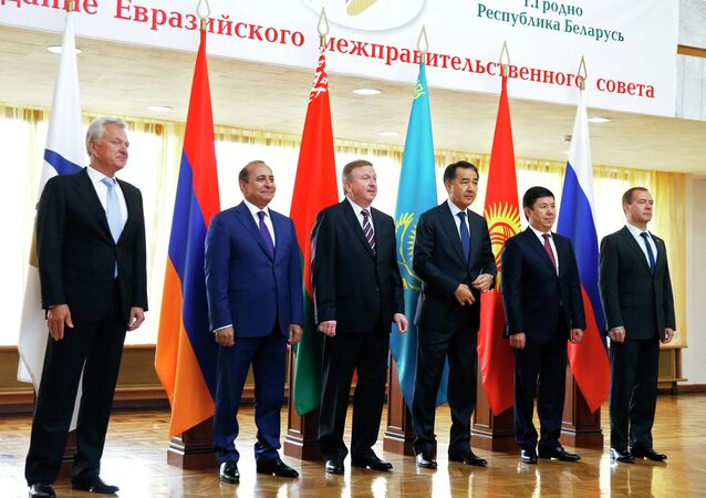 Russian Prime Minister Dmitry Medvedev attends meeting of the Inter-Governmental Council of Eurasian Economic Union Countries in Belarus