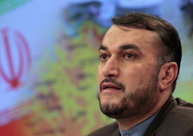 Iranian Deputy Foreign Minister Hossein Amir Abdollahian speaks during a press conference in Moscow, Russia, Friday, Aug. 3, 2012