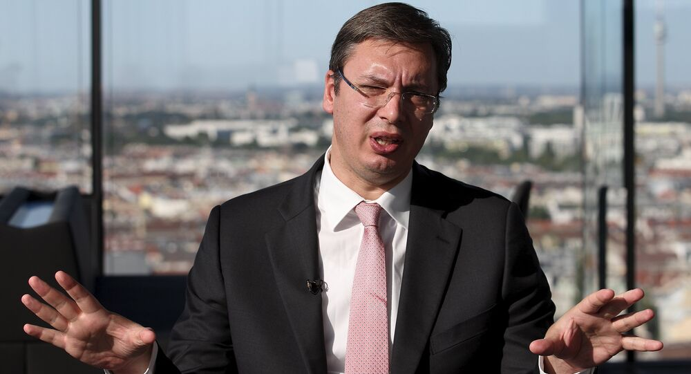 Serbian Prime Minister Aleksandar Vucic speaks during an interview with Reuters in Vienna, Austria, August 26, 2015