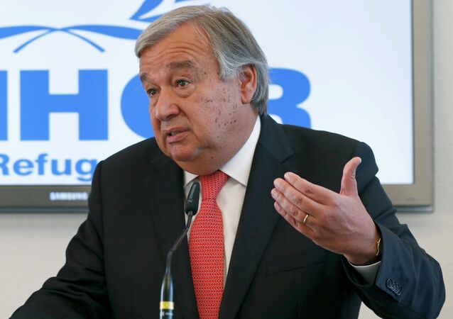 Antonio Guterres, United Nations High Commissioner for Refugees (UNHCR) speaks to media about the refugee crisis in Europe, following their bilateral meeting at the UNHCR headquarters in Geneva, Switzerland, September 4, 2015