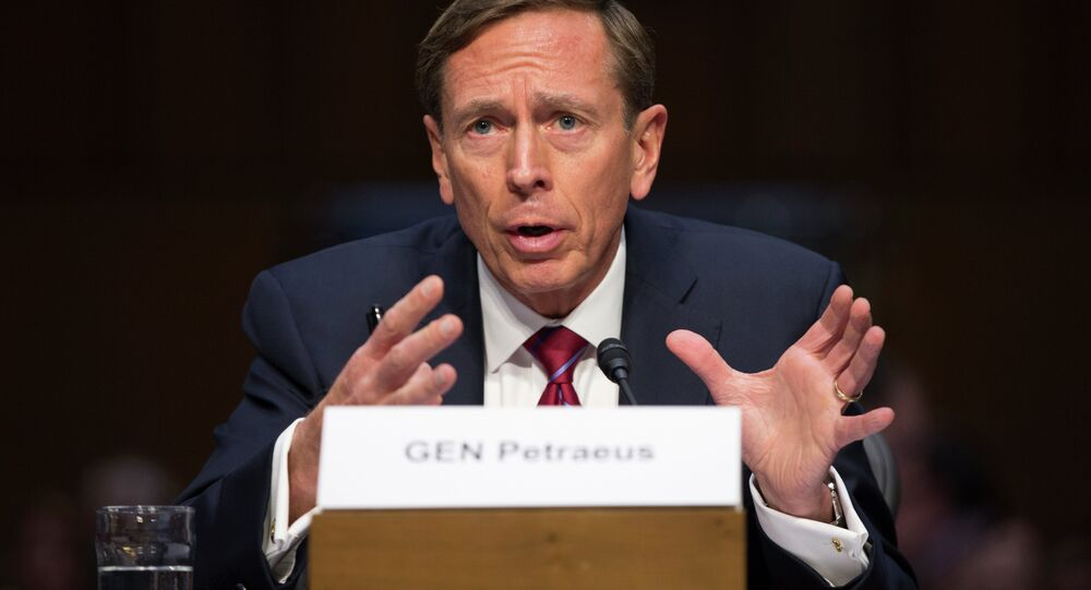 Former CIA Director David Petraeus testifies on Capitol Hill in Washington, Tuesday, Sept. 22, 2015, before the Senate Armed Services Committee hearing on Middle East policy