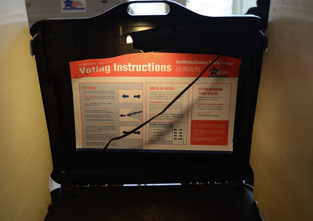 A broken polling machine is seen on November 6, 2012 in Chicago, Illinois