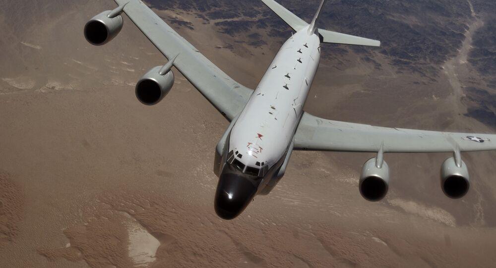 An RC-135 Rivet Joint reconnaissance aircraft