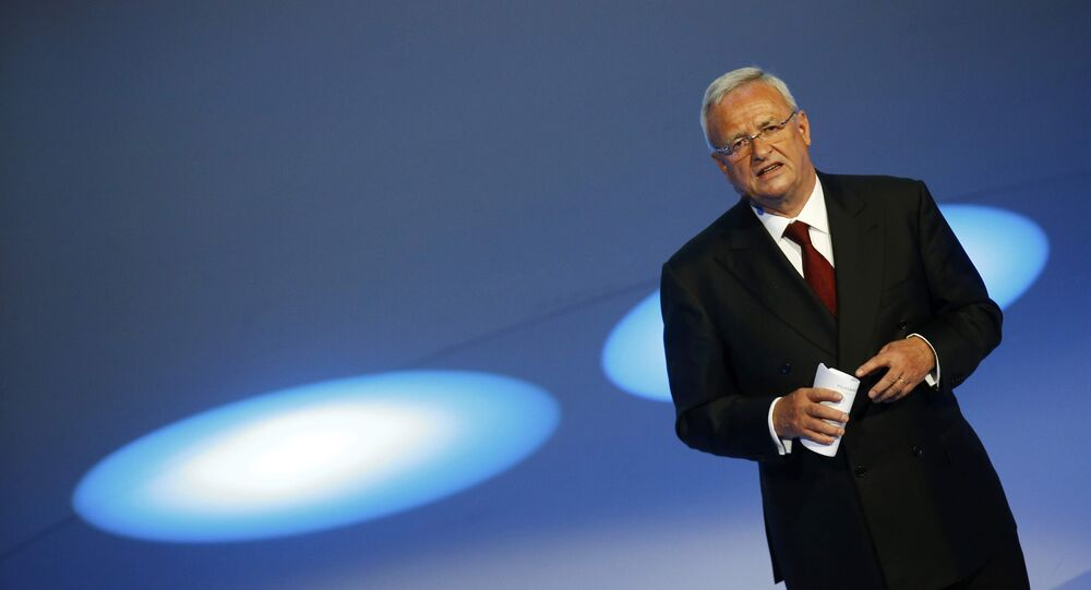 Volkswagen CEO Martin Winterkorn gives his closing speech during the Volkswagen group night ahead of the Frankfurt Motor Show (IAA) in Frankfurt, Germany