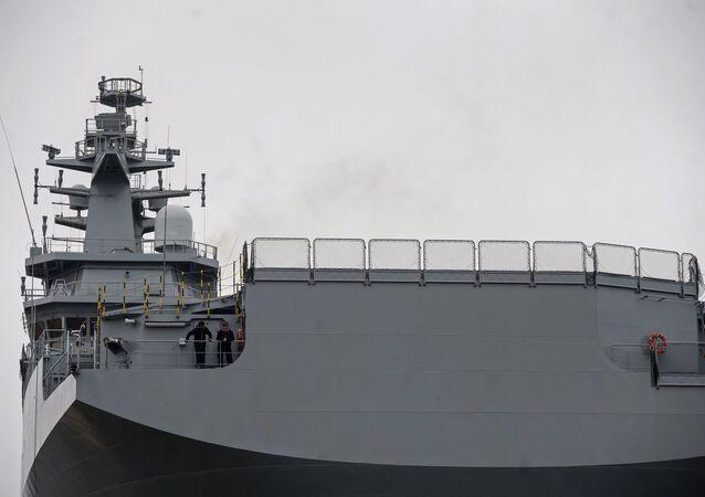 The Vladivostok amphibious assault ship of the Mistral class at the STX Europe shipyard in Saint-Nazaire