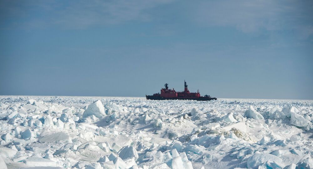 The atomic icebreaker Yamal during researches carried out in the Kara Sea