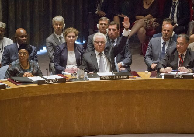 Russian U.N. Ambassador Vitaly Churkin, center, raises his hand to cast a vote to veto