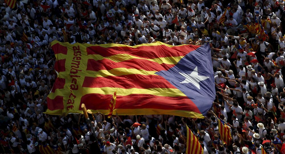 Catalan pro-independence supporters hold a giant estelada (Catalan separatist flag) during a demonstration called Via Lliure a la Republica Catalana (Way of Freedom for the Republic of Catalonia) on the Diada de Catalunya (Catalunya's National Day) in Barcelona, Spain, September 11, 2015.