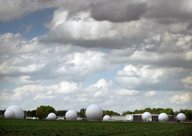 Radar domes are located on the premises of a communications intercept station of German intelligence agency BND in Bad Aibling, Germany.