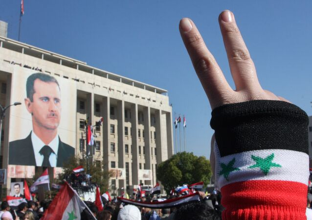 A pro-Syrian regime protester flashes V-victory sign