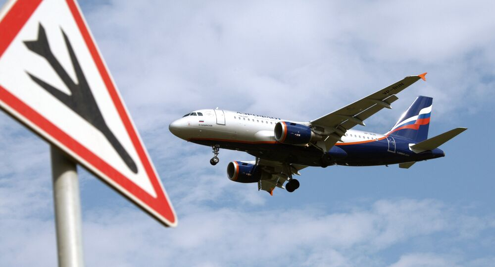 An Airbus A319 passenger aircraft of the Aeroflot company.