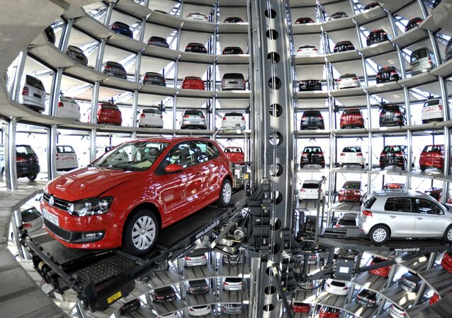 Volkswagen Golf VI are stored at the 'CarTowers' in the theme park Autostadt next to the Volkswagen plant in Wolfsburg, Germany