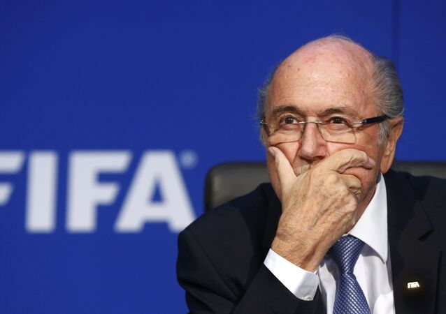 FIFA President Sepp Blatter reacts during a news conference after the Extraordinary FIFA Executive Committee Meeting at the FIFA headquarters in Zurich, Switzerland, in this July 20, 2015 file photo