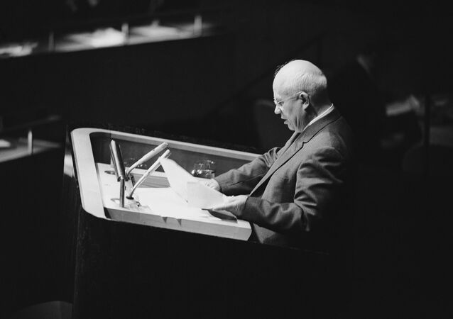 Soviet leader Nikita Khrushchev addresses  UN General Assembly in New York, Oct. 11, 1960